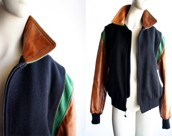 Unisex Vintage Leather and Wool Bomber Jacket