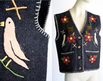 Vintage Jou Jou Brand Wool Retro Embroidered Unisex Vest