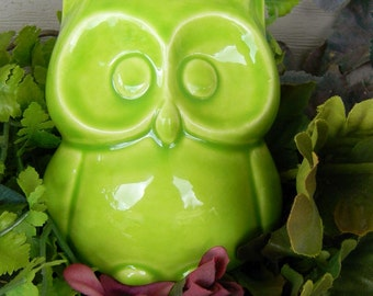 Ceramic  Owl Statue infruit apple green Desk decoration  cm