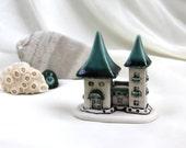 Emerald green tiny Fairy House -- Hand Made Ceramic Eco-Friendly Home Decor by studio Vishnya