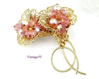 Brooch Pink AB Beaded Filigree Bouquet Gold tone