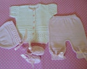 Baby Cotton  Outfit,  Newborn Set,  Four Pces.  Set, Newborn 6/7 Pounds, Baby Shower Gift, Take Home Set, Coming Home Suit.