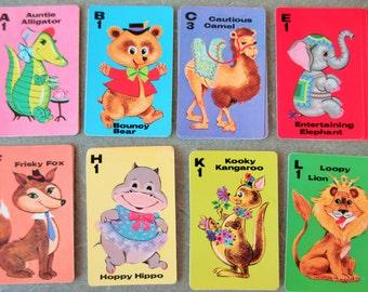 Vintage Animal Rummy Game, Animal Cards, Children's Card Game, Cute Kawaii Zakka, 1970s Card Deck, Vintage Craft Supply, Circus Cards