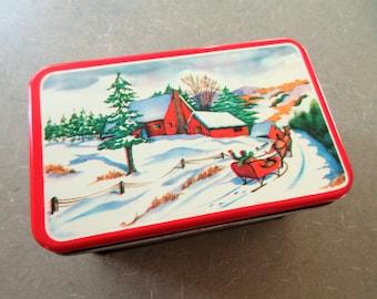 Vintage Tin, Winter Scene, Lidded Tin, Vintage Christmas Decor, Metal Tin, Sleigh Ride, Snowy Scene Tin, Vintage Holiday Decor, Xmas Decor
