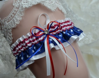 Wedding Keepsake,Bridal Keepsake Garter Red White And Blue 4th Of July