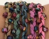 DIY Silk Wrap Bracelet or Silk Cord Kit DIY Craft Kit DIY Bracelet You Make Five Adult Friendship Bracelets in Muted Garden Palette