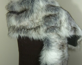 Extra Large Faux Fur Wrap, Canadian Fox Stone Fur Shawl, Women's Extra Long Fur Scarf