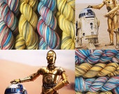R2D2 and C3P0 Duet Yarns- 462 yds/ Sock