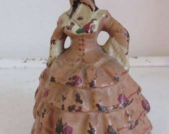 Antique National Foundry Pink Colonial Lady Door Stop