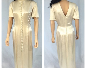 Vintage Beige High Collar Dress. Open Back. Size 12. Long Dress. Front Buttons. Short Sleeve. Under 30. Braemar Jeremy Scott. 1980s.
