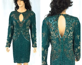 Vintage Teal Green Beaded Dress. X-Large. Long Sleeve. Formal. Wedding. Bridal. Mermaid. Sequins. Beads. Under 100. Laurence Kazar. Holiday.