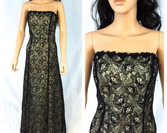 Vintage Black Lace Strapless Maxi Gown. Size 10. Prom. Holiday. Long Dress. Black and White. Evening. Formal. Wedding. 1990s. Under 75.