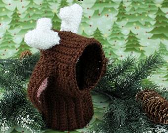 Crochet Dog Snood, Crochet dog Hat, Christmas Reindeer, Photo Prop,