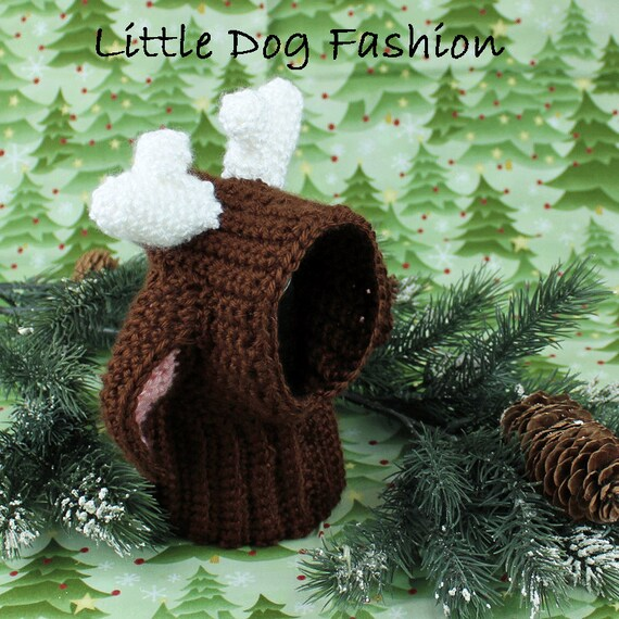 Free Reindeer Hat Crochet Pattern For Dogs : Crochet Dog Snood Crochet dog Hat Christmas Reindeer Photo