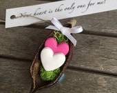 Pink and White Heart Ornament, Your Heart is the Only One for Me, Valentines Gift for Her, Gift for Him, Romantic Valentines Day Gift