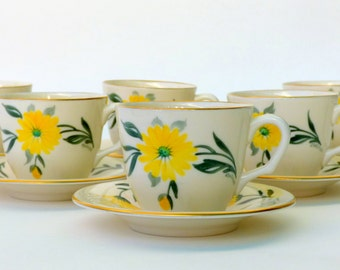 "Pickard China ""Aurora"" #1056 Demitasse Cups & Saucers, Challinor Hand Painted Porcelain, Yellow Daisy Flowers"