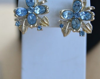 On Sale Pretty Vintage Blue Rhinestone Screwback Earrings, Listing #142
