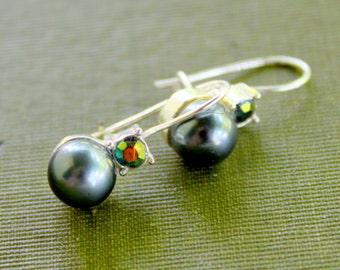 AVON Earrings Tahitian Pearl Dangle Drop Pierced Ears Silver Tone