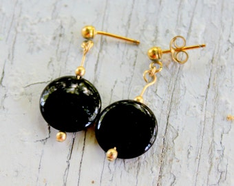 14k Gold Onyx Earrings Dangle