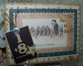 Back to School Card Vintage Style School Handmade Card
