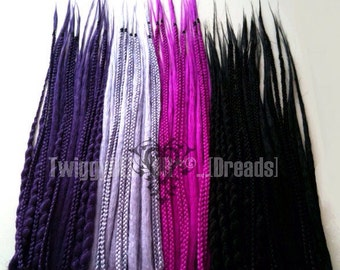 Made-to-Order PLAIN Natural-Style Synthetic Dread Extensions Full Kit of 45 DEs or 90 SEs includes Braids Spiral-Wraps and Blends
