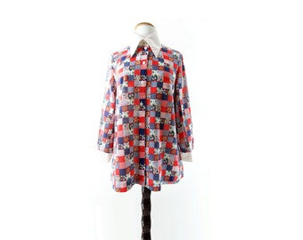 70s Patchwork Blouse, Vintage Maternity, Boho 70s Blouse, 70s Maternity Blouse, Red White Blue Top, Fourth of July, Button Up Shirt, s, m