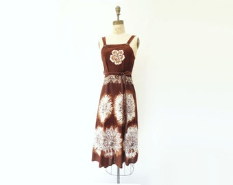 Vintage 70s Dress Boho Batik Dress Chestnut Brown 1970s Sun Dress 70s Tie Dye Dress 1970s Wrap Dress Boho Sun Dress 70s Pinafore Dress s