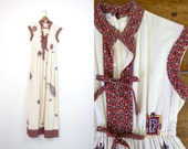 RESERVED 70s Indian Maxi Dress Vintage Cream Long Boho Dress Sleeveless Gypsy Dress Paisley Print Hippie Bohemian Tribal Ethnic Dress Medium