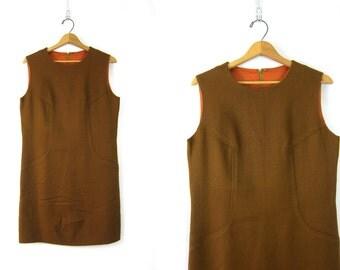 Vintage 1960s Shift Dress Basic Brown Sleeveless Simple Minidress Louannes Vintage Medium Simple Minimialist Office Secretary Work Dress