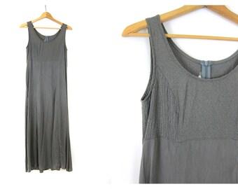 Slate Gray Maxi Dress Long Sleek Sundress 1990s Sleeveless Rayon Simple MInimalist Basic Dress Women's Size 8 Medium