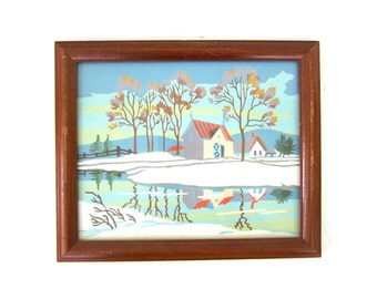 Paint by Numbers  art / Winter Snow Scene House and Landscape Painting wood Frame Glass Vintage Art Retro wall hanging Louanne's Estate Sale
