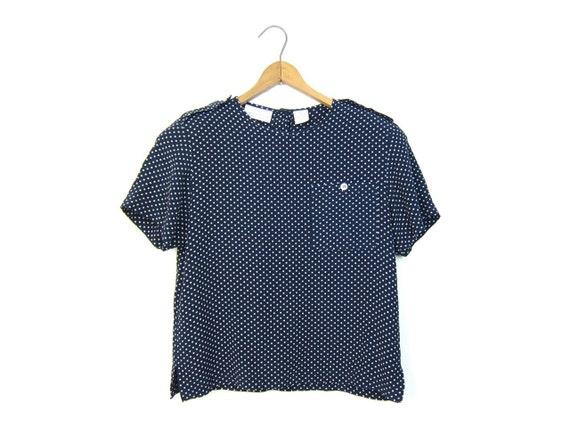 Polka Dot 90s Blouse Navy Blue Rayon Top Vintage Modern Boxy Blouse Preppy Minimal Shirt Vintage 1990s Prep School Top DELLS Womens SMALL