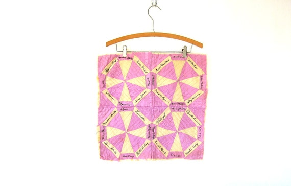 1950s hand stitched Quilt Block Wall Hanging embroidered fabric Quilt piece handsewn Folk Art hand pieced Names Purple and White
