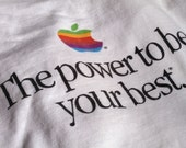 "Vintage 1980s Apple Macintosh ""The power to be your best"" Rainbow Logo T-Shirt XL"