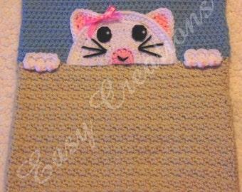 PDF CROCHET PATTERN Peek-a-Kitty, Kitty Pajama Pillow, boy Pj bag, girl Pj bag, animal Pj pillow, pet Pj bag