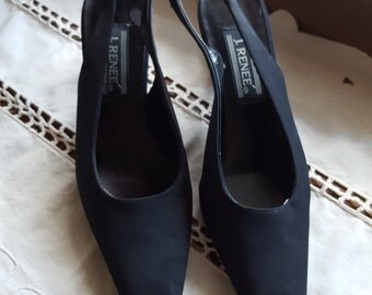 J. Renee Black Fabric with Clear Pearl Filled Heel Size 7 1/2 Slingback Womens Heels 3.5  On SaLe Now