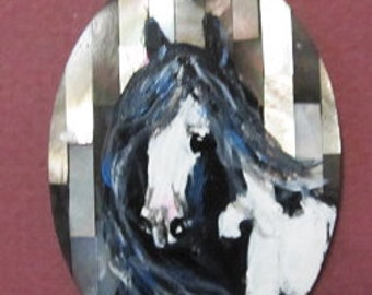Gypsy Vanner horse art handpainted necklace  1