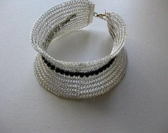 Sculpted Bracelet - Silver and black bead statement bracelet