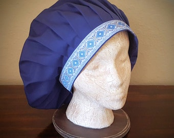 Muffin Hat Cap in Navy Blue With Embroidered Jacquard Trim, Renaissance Costume, Mob Cap, Medieval Caul, Peasant Headwear, SCA LARP Garb
