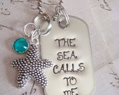 "Hand Stamped Recycled Stainless Steel Mini Dog Tag complete with Starfish Charm, Swarovski Crystal, 24"" Ball Chain - The Sea Calls to Me"