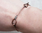 Arrow Bracelet, Oxidized Copper, Silver, Wire Jewelry