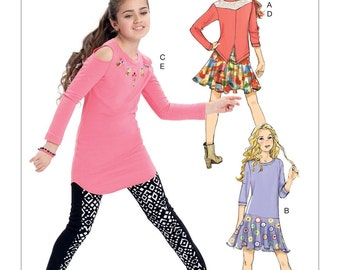 GIRLS CLOTHES PATTERN! Make Skirt - Top -  Dress - Leggings / Size 7-14 / School Clothes