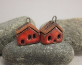 READY TO SHIP...Red Miniature House Charms in Terracotta...Set of 2