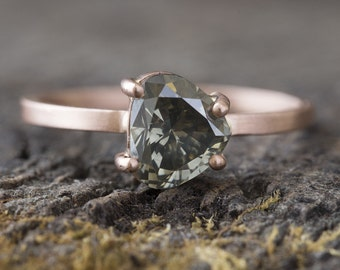 One of a Kind Natural Green Diamond Ring