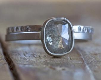 Natural Silver-Green Rose Cut Diamond Ring-cushion