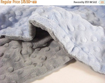 ON SALE Blue and gray Minky Baby Blanket Personalized - for baby boy