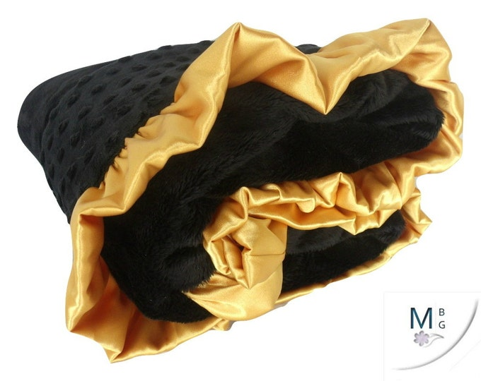Black and Gold Ruffled Minky Baby Blanket, 3 Sizes