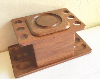 Beautiful Vintage Wood Pipe Rack Holder and Humidor Tobacco Box Elegant Design