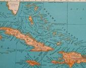 Vintage Map of West Indies, 1937 antique Caribbean Map, Bahama Islands