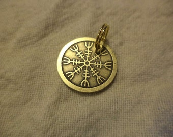 Etched Brass Viking compass and Helm of Awe Charm